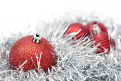 Christmas. Balls and decoration on white background Royalty Free Stock Photos