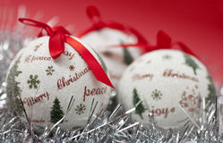 Christmas. Balls and decoration on red background Royalty Free Stock Photo