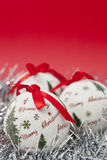 Christmas. Balls and decoration on red background Stock Images