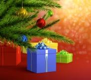 Christmas. Abstract image on Christmas theme with christmas balls tree and gift boxes vector illustration