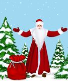 Christmas. Santa Claus Christmas tree and gift, vector image card Royalty Free Stock Photo
