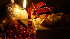 Christmas. New Year's Eve, Christmas toys by candlelight Stock Photo