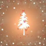 Christmas. Background with a fir and snowflakes Stock Images