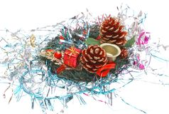Christmas 3. Christmas decorations - garland, tinsel on a white background Royalty Free Stock Photos