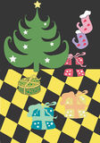 Christmas. A illustration of a christmas tree and presents royalty free illustration