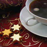 Christmas. Xmax decoration on a table with a cup of coffee Stock Images