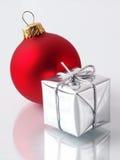 Christmas. Decorations: Gift & Glass Ball Stock Image