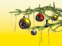 Christmas. Branch with  Balls and tinsel on a tree with a candle light royalty free illustration