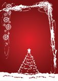 Christmas. Red background with Christmas Tree Stock Image