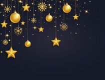 Free Christmas 3d Gold Balls, Stars And Snowflakes Garland. Golden Glass Xmas Toys. Luxury Hanging Baubles With Ribbon Stock Image - 197616341