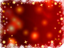 Christmas 3d golden stars. Golden 3d stars over red background with lights and gleams Royalty Free Stock Photo
