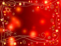 Christmas 3d golden stars and snowflakes. Golden 3d stars and snowflakes over red background with lights and gleams Stock Photos