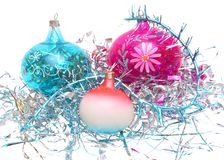 Christmas 4. Christmas decorations - balloons, tinsel on a white background Royalty Free Stock Image