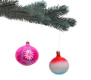 Christmas 5. Branch spruce decorated with balloons on a white background Royalty Free Stock Photo