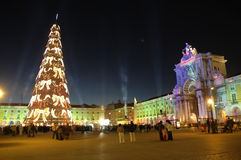 Christmas. Praça do Comércio - Commerce Square - Lisbon,Portugal,E.U. 2005 Christmas time, lights and lasers display and one of the tallest christmas tree in Royalty Free Stock Photos