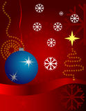 Christmas. Artistic background with snowflakes and ball Stock Photography