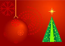 Christmas. Artistic background with ball and  tree Stock Photos