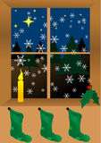 Christmas. Background with candle and socks Stock Photography