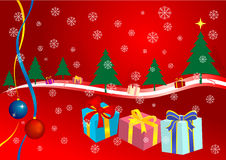 Christmas. Abstract Christmas background with snowflakes, presents and Christmas trees Royalty Free Stock Photography
