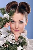 Christmas. Young, woman, hide-and-seek, New-Year tree, plaything Stock Image