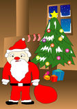Christmas. Illustration of santa holding gift in front of christmas tree vector illustration