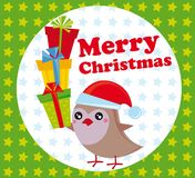 Christmas. Illustration of christmas card with bird and gifts on green background Royalty Free Stock Image