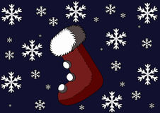 Christmas Stocking on a background with snowflakes. In some parts of the world the children are used to hang a sock on the fireplace. This illustration Royalty Free Stock Photography