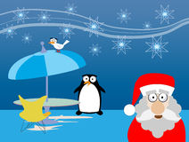 Christmas. Illustration of christmas scene with santa and penguin Stock Images