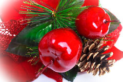 Christmas. Red Christmas apples and pine Royalty Free Stock Photography
