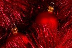 Christmas. Two small red christmas balls royalty free stock photography