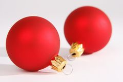 Christmas. Two red christmas ball on white background royalty free stock photo