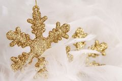 Christmas. Two gold christmas stars with white feathers stock image