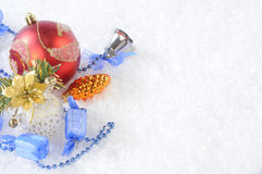 Christmas. Toys on snow background Royalty Free Stock Images