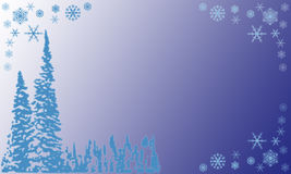 Christmas. Frame with trees and snowflakes on a blue white nuance bachground Royalty Free Stock Images