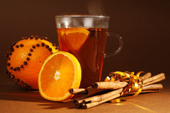 Christmas. Drink with orange and cinnamon royalty free stock photo