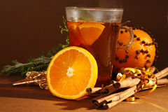Christmas. Drink with orange and cinnamon stock images
