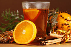 Christmas. Drink with orange and cinnamon stock photography