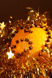 Christmas. Orange with gold decorations royalty free stock photo