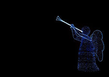 Christmas. Blue lighting angel on black background Royalty Free Stock Photography