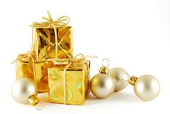 Christmas. Gift with balls on the white background royalty free stock photos