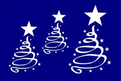 Christmas. Illustration of christmas trees in blue and white Stock Images
