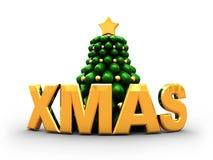 Christmas. 3d illustration of xmas tree with golden text 'xmas royalty free illustration