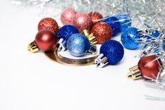 Christmas. Balls  and horseshoe on white Stock Photos