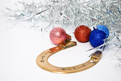 Christmas. Decoration with balls on white background Stock Photos