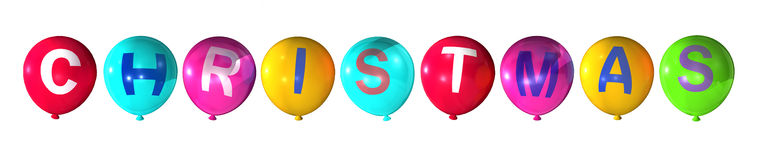 Christmas. Word in colorful balloons Royalty Free Stock Images