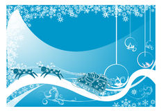 Christmas. Abstract blue background with Christmas balls, small fir trees, blue bubbles, and abstract snowflakes Stock Photos