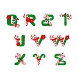 Christmas ABC. Christmas alphabet with candies and symbols of holiday royalty free illustration