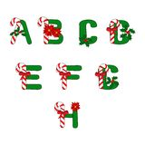 Christmas ABC. Christmas alphabet with candies and symbols of holiday stock illustration