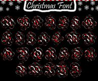 Christmas abc from capital letters. Alphabet transparent and isolated on black background royalty free illustration