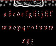 Christmas abc from lowercase letters. Alphabet transparent and isolated on black background royalty free illustration